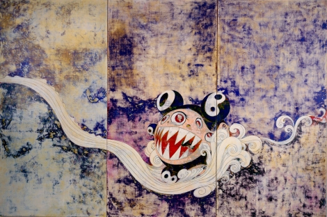 "For example, take this piece that Takashi did. It's done in a more traditional ""high"" style of wall art and Nihonga painting, but then contains a crass commercialist-esque figure that looks half like Mickey Mouse and half like Sonic the Hedgehog. Also half terrifying and half slighly...moe?"