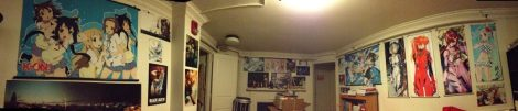 Here's a sorta panoramic screenshot of my college room, by the way, just in case anyone was doubting my otaku cred :p.